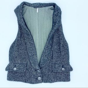 Free People Gray Black 2 Button Vest SZ Small